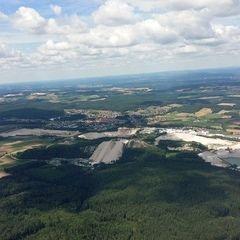 Flugwegposition um 11:25:49: Aufgenommen in der Nähe von Amberg-Sulzbach, Deutschland in 1009 Meter