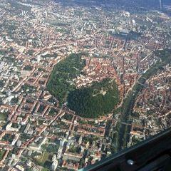 Flugwegposition um 14:54:51: Aufgenommen in der Nähe von Graz, Österreich in 1438 Meter