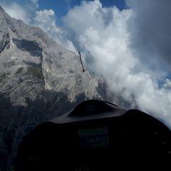 Flugwegposition um 12:13:58: Aufgenommen in der Nähe von Gemeinde Wildermieming, Österreich in 2680 Meter