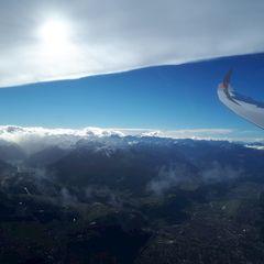 Flugwegposition um 13:38:25: Aufgenommen in der Nähe von Hall in Tirol, Österreich in 3119 Meter
