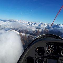 Flugwegposition um 13:53:27: Aufgenommen in der Nähe von Gemeinde Navis, Navis, Österreich in 3161 Meter