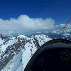 Flugwegposition um 11:49:39: Aufgenommen in der Nähe von Gemeinde Strengen, Österreich in 3111 Meter