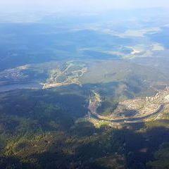 Flugwegposition um 14:11:38: Aufgenommen in der Nähe von Okres Český Krumlov, Tschechien in 2414 Meter