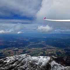 Flugwegposition um 12:37:22: Aufgenommen in der Nähe von Gemeinde Eisenkappel-Vellach, Österreich in 2326 Meter