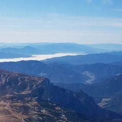 Flugwegposition um 09:16:29: Aufgenommen in der Nähe von Gemeinde Schwarzau im Gebirge, Österreich in 2623 Meter