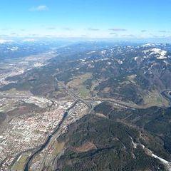 Flugwegposition um 13:34:20: Aufgenommen in der Nähe von Leoben, 8700 Leoben, Österreich in 1875 Meter