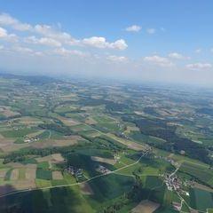 Flugwegposition um 09:37:24: Aufgenommen in der Nähe von Gemeinde Ungenach, Österreich in 1128 Meter