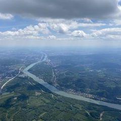 Flugwegposition um 11:34:50: Aufgenommen in der Nähe von Gemeinde Spillern, Spillern, Österreich in 1768 Meter