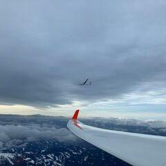 Flugwegposition um 14:15:07: Aufgenommen in der Nähe von Oberweg, Österreich in 3216 Meter