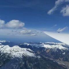 Flugwegposition um 12:58:18: Aufgenommen in der Nähe von Gemeinde Obsteig, Österreich in 3176 Meter