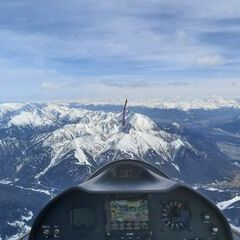 Flugwegposition um 13:58:35: Aufgenommen in der Nähe von Gemeinde Leutasch, Österreich in 3665 Meter