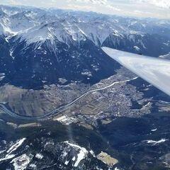 Flugwegposition um 13:58:42: Aufgenommen in der Nähe von Gemeinde Leutasch, Österreich in 3665 Meter
