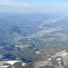 Flugwegposition um 14:37:00: Aufgenommen in der Nähe von Leoben, 8700 Leoben, Österreich in 2545 Meter