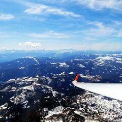 Flugwegposition um 10:56:01: Aufgenommen in der Nähe von Gemeinde Hüttenberg, Österreich in 2481 Meter