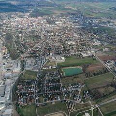 Flugwegposition um 14:25:09: Aufgenommen in der Nähe von Wiener Neustadt, Österreich in 1217 Meter