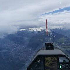 Flugwegposition um 12:05:10: Aufgenommen in der Nähe von Gemeinde Zirl, Zirl, Österreich in 4095 Meter