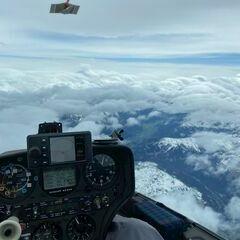 Flugwegposition um 13:50:19: Aufgenommen in der Nähe von Gemeinde Saalbach-Hinterglemm, Österreich in 5536 Meter