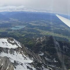 Flugwegposition um 14:08:27: Aufgenommen in der Nähe von Gemeinde Finkenstein am Faaker See, Österreich in 2480 Meter
