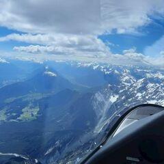 Flugwegposition um 12:52:55: Aufgenommen in der Nähe von Gemeinde Wildermieming, Österreich in 3170 Meter