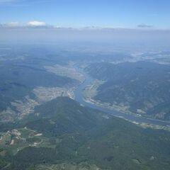 Flugwegposition um 13:23:54: Aufgenommen in der Nähe von Gemeinde Maria Laach am Jauerling, Österreich in 2191 Meter