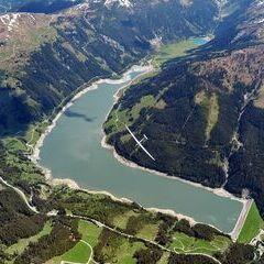 Flugwegposition um 12:21:25: Aufgenommen in der Nähe von Gemeinde Gerlos, 6281 Gerlos, Österreich in 3082 Meter