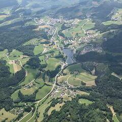 Flugwegposition um 12:46:07: Aufgenommen in der Nähe von Gemeinde Waldhausen im Strudengau, Waldhausen im Strudengau, Österreich in 1603 Meter