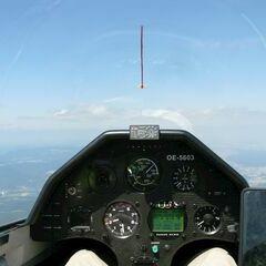 Flugwegposition um 12:44:58: Aufgenommen in der Nähe von Gemeinde Altendorf, Österreich in 1958 Meter