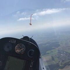 Flugwegposition um 13:45:57: Aufgenommen in der Nähe von Günzburg, Deutschland in 1573 Meter