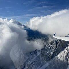 Flugwegposition um 08:19:21: Aufgenommen in der Nähe von Ferlach, Österreich in 2142 Meter